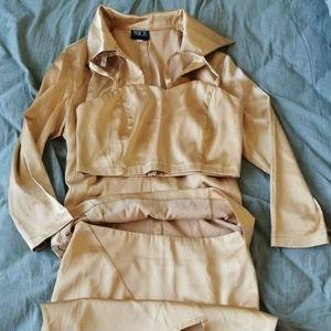 Satin silk slip dress skirt and top